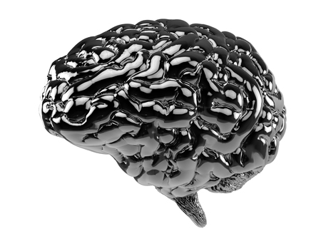 3d rendering black human brain isolated on white Stock Photo