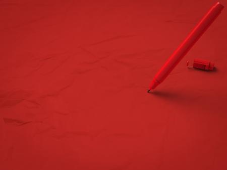 ballpen: red pen on red background