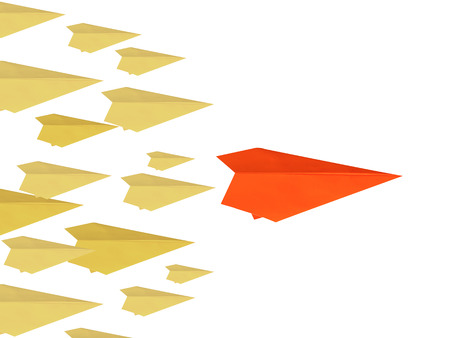 differentiation: leadership concept with paper plane as a leader