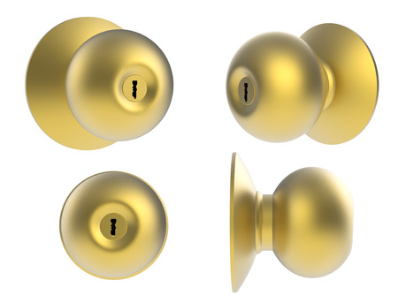 gold door knob isolated on white