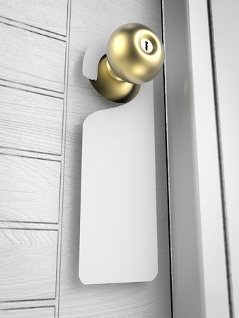 door knob: blank sign hanging with door knob Stock Photo