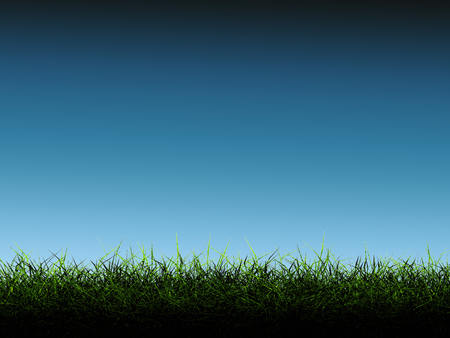 blue green background: 3d rendering green grass with blue background Stock Photo