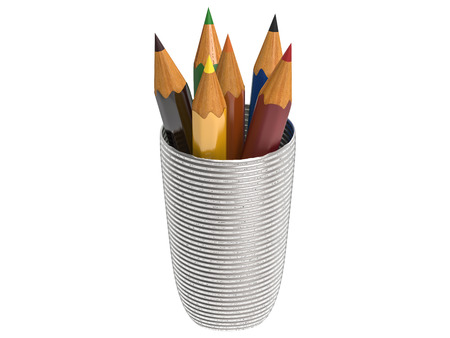 bunch of colored pencils isolated on white