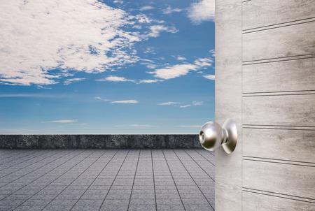 balcony door: roof top balcony with door opened Stock Photo