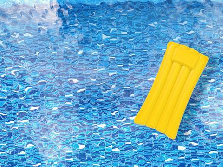 3d rendering radeau gonflable sur la piscine vue de dessus Banque d'images