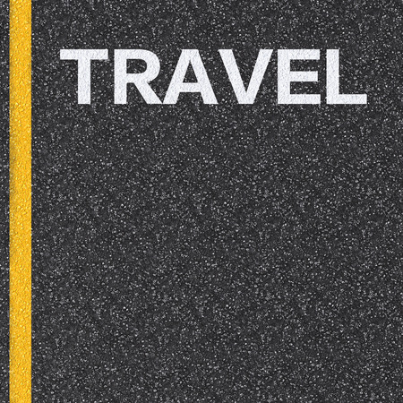 yellow line: travel concept with text on asphalt road Stock Photo