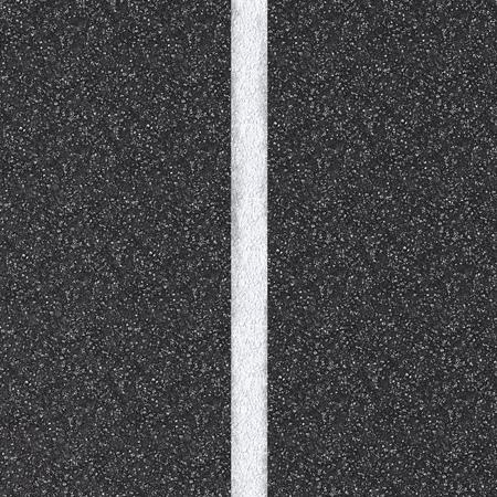 白い線との 3 d のレンダリングされたアスファルト道路平面図