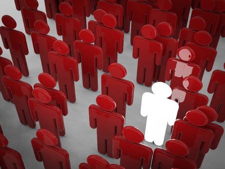 the chosen one: glowing man among crowd with differentiate concept Stock Photo