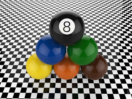 billiard balls pyramid with eight ball on top