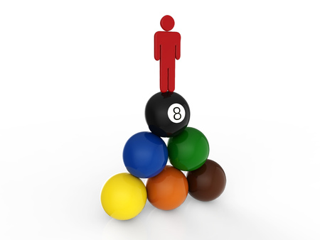leadership concept with man standing on top of billiard balls