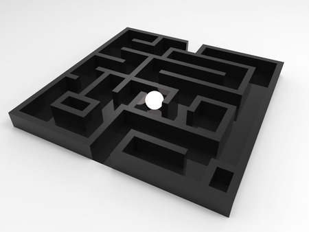 solver: challenge concept with shining ball in maze