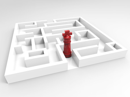 solver: challenge concept with chess king in maze Stock Photo