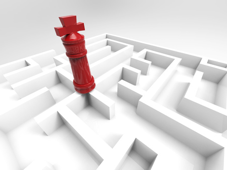 challenge concept with chess king in maze Stock Photo