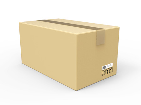 3d rendering carton box on white background