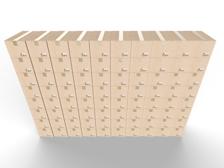 despatch: 3d rendering stack of carton boxes of carton boxes wall Stock Photo