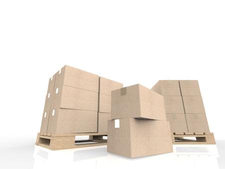 despatch: 3d rendering stack of cardboard boxes on wooden pallet