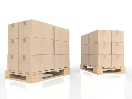 stockpile: 3d rendering stack of cardboard boxes on wooden pallet
