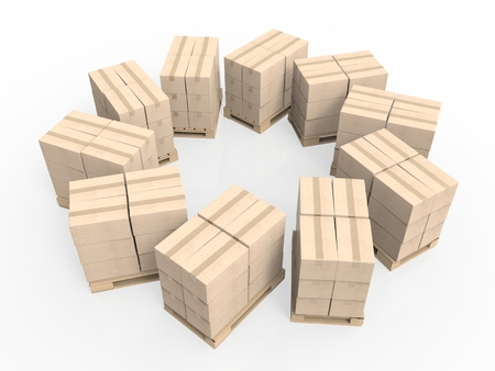 despatch: 3d rendering stack of cardboard boxes on wooden pallet