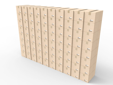stockpile: 3d rendering stack of carton boxes of carton boxes wall Stock Photo