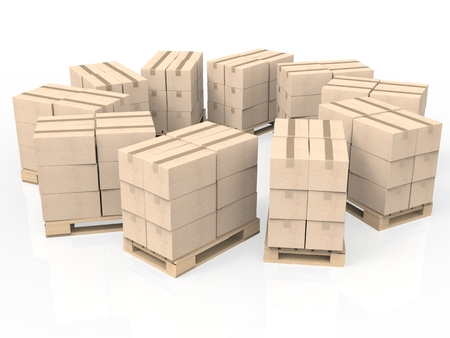 boxboard: 3d rendering stack of cardboard boxes on wooden pallet