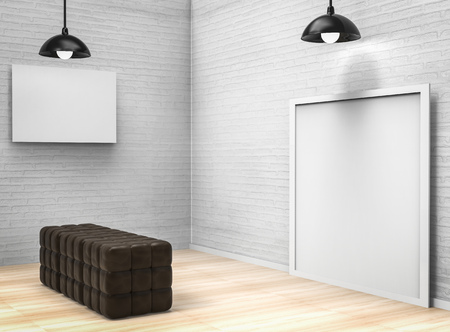 living space: blank white frame in living space Stock Photo