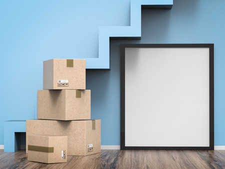 carton box: blank black frame hanging on wall with carton box