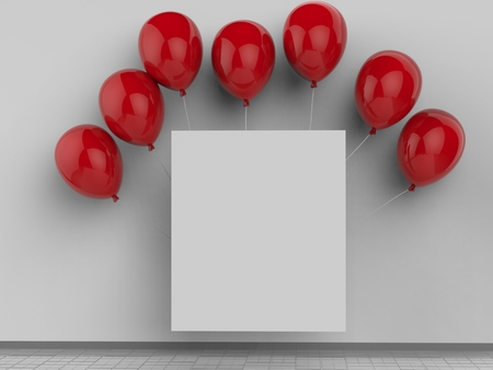 red balloons: 3d rendered blank square frame with red balloons