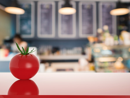 counter top: red tomato on counter top in kitchen
