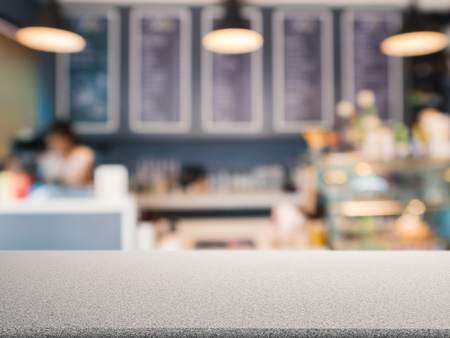 granite counter: granite counter top with bakery shop blurred background