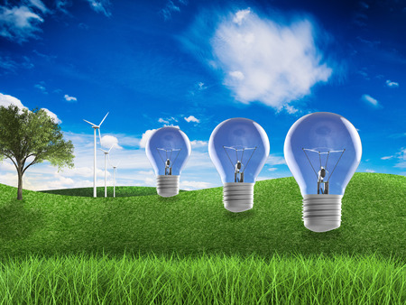 alternative living: 3d rendering wind turbines and idea lightbulb with green field and blue sky