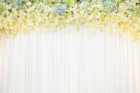 white cloth: flora backdrop with white cloth background Stock Photo