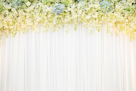 tela blanca: telón de fondo la flora con el fondo de tela blanca Foto de archivo