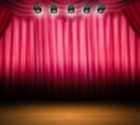 shining light: blank stage with shining light and red curtain background