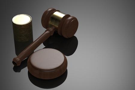 juez de renderizado 3d martillo con la pila de monedas