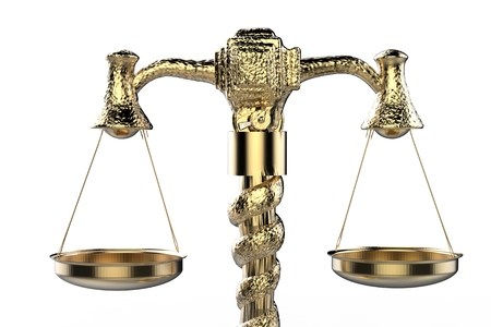 defendant: 3d rendering golden law scale on white background Stock Photo