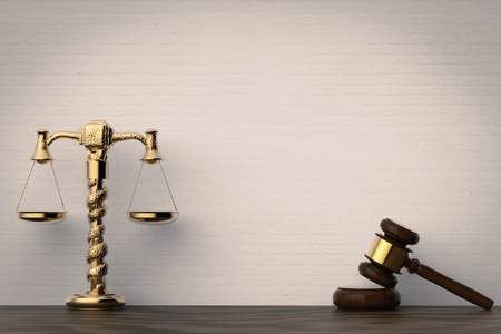 defendant: law concept with 3d rendering gavel judge and golden law scale Stock Photo