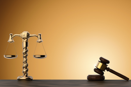 law concept with 3d rendering gavel judge and golden law scale Stock Photo
