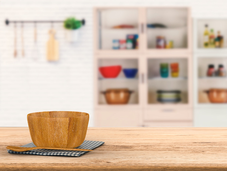 ustensiles de cuisine: 3d rendering kitchenware on wooden counter with kitchen blurred background