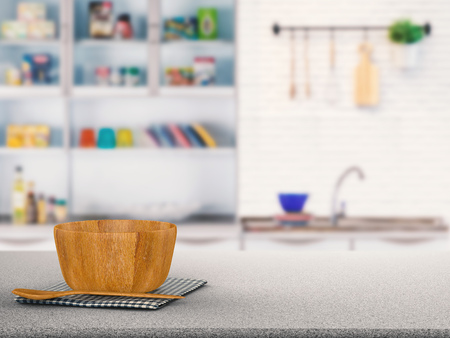 cabinetry: kitchenware on granite counter with kitchen blurred background Stock Photo