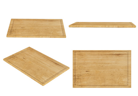 trencher: wooden chopping board isolated on white