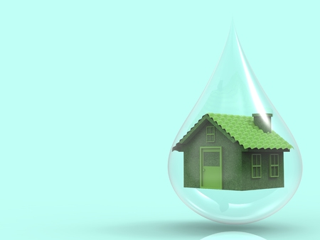 forsale: eco home concept with green house model in water drop