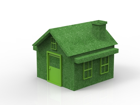 forsale: green mockup house or model house on white background Stock Photo