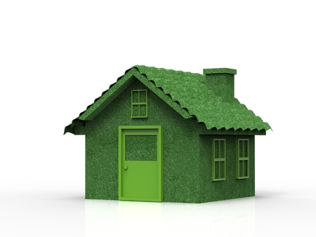 casa verde o maqueta modelo de casa sobre fondo blanco