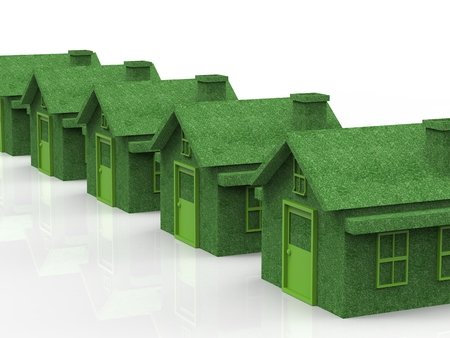 forsale: green village with eco house in a row Stock Photo