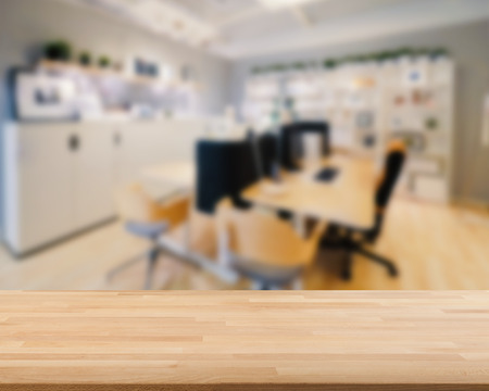 countertop: wooden countertop with workspace blurred background Stock Photo