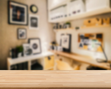 wooden countertop with workspace blurred background Stock Photo