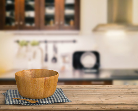 cabinetry: 3d rendering kitchenware on wooden counter with kitchen blurred background