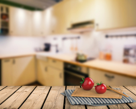 cabinetry: 3d rendering wooden counter top with tomato and chopping board on kitchen cabinet background