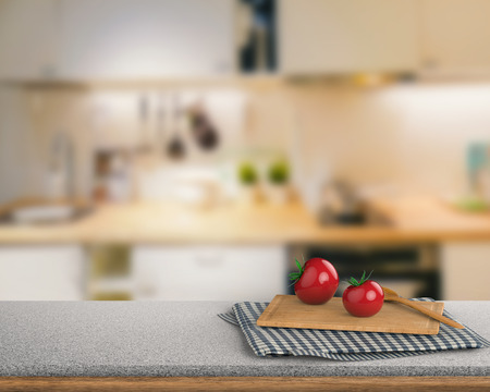 cabinetry: 3d rendering granite counter top with tomato and chopping board on kitchen cabinet background