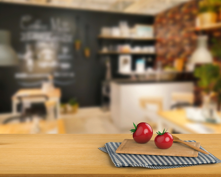counter top: 3d rendering wooden counter top with tomato and chopping board on kitchen cabinet background